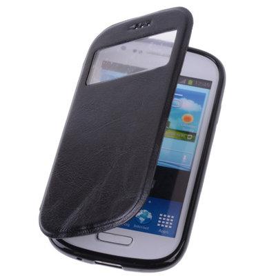 View Case Zwart Hoesje voor Samsung Galaxy Trend Plus TPU Bookcover