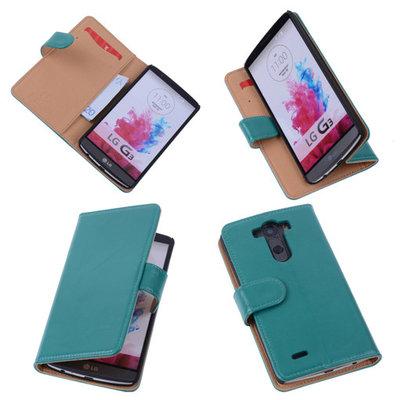 PU Leder Groen Hoesje voor LG G3 Book/Wallet Case/Cover