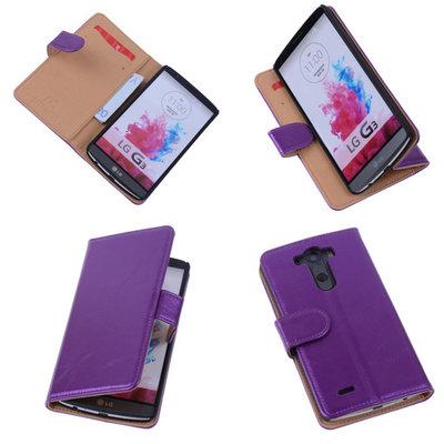 PU Leder Lila Hoesje voor LG G3 Book/Wallet Case/Cover