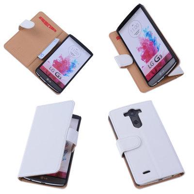 PU Leder Wit Hoesje voor LG G3 Book/Wallet Case/Cover