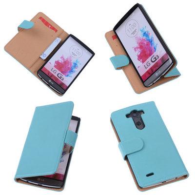 PU Leder Turquoise Hoesje voor LG G3 Book/Wallet Case/Cover