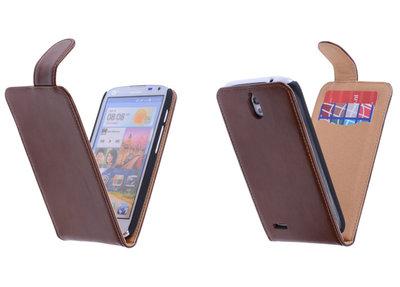Classic Bruin Hoesje voor Huawei Ascend G610 PU Leder Flip Case
