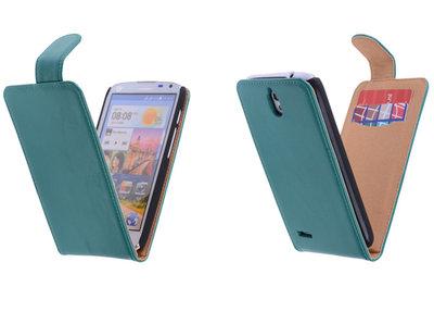 Classic Groen Hoesje voor Huawei Ascend G610 PU Leder Flip Case