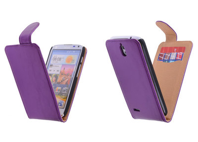 Classic Lila Hoesje voor Huawei Ascend G610 PU Leder Flip Case