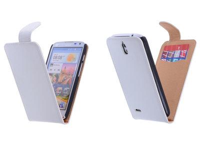 Classic Wit Hoesje voor Huawei Ascend G610 PU Leder Flip Case