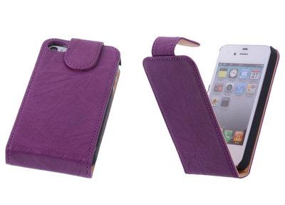 BestCases Luxe Kreukelleer Flipcase Hoesje voor Apple iPhone 4 4s Lila