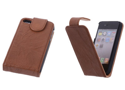 BestCases Luxe Kreukelleer Flipcase Hoesje Apple iPhone 4 4s Bruin