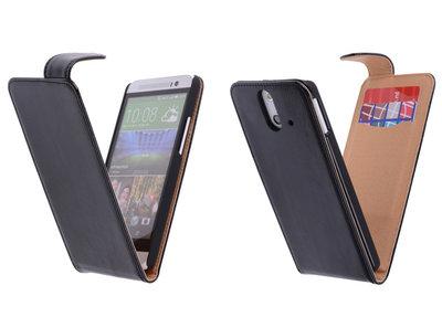 Classic Zwart Hoesje voor HTC One E8 PU Leder Flip Case