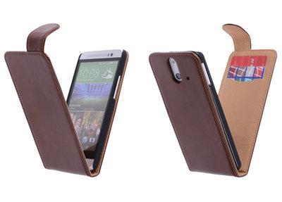 Classic Bruin Hoesje voor HTC One E8 PU Leder Flip Case