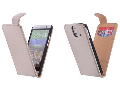 Classic Goud Hoesje voor HTC One E8 PU Leder Flip Case