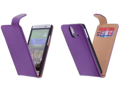 Classic Lila HTC One E8 PU Leder Flip Case Hoesje
