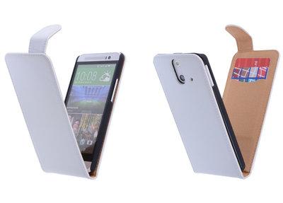 Classic Wit Hoesje voor HTC One E8 PU Leder Flip Case