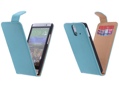 Classic Turquoise Hoesje voor HTC One E8 PU Leder Flip Case