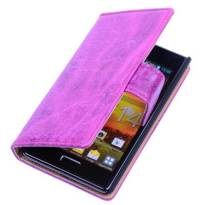 Bestcases Vintage Pink Book Cover Hoesje voor LG Optimus L5