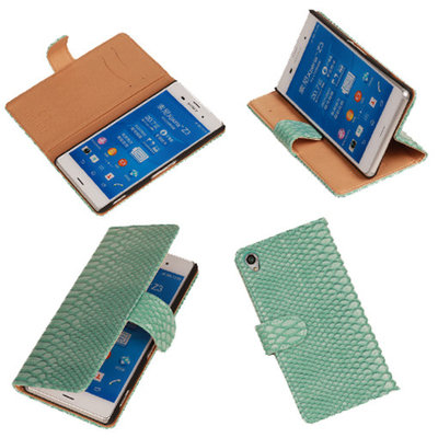 "BC ""Slang"" Turquoise Hoesje voor Sony Xperia Z3 Bookcase Wallet Cover"
