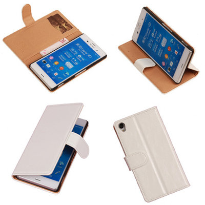 PU Leder Wit Hoesje Sony Xperia Z3 Book/Wallet Case/Cover