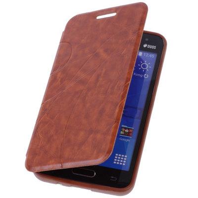 Bestcases Bruin Hoesje voor Samsung Galaxy V TPU Book Case Flip Cover Motief