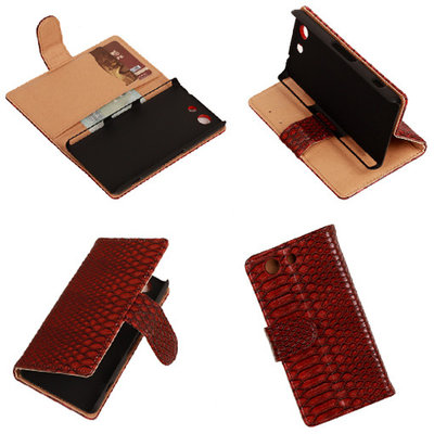 """Slang"" Rood Hoesje voor Sony Xperia Z3 Compact Bookcase Wallet Cover"