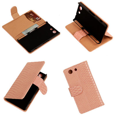 """Slang"" Pink Hoesje voor Sony Xperia Z3 Compact Bookcase Wallet Cover"