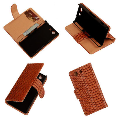 """Slang"" Bruin Hoesje voor Sony Xperia Z3 Compact Bookcase Wallet Cover"