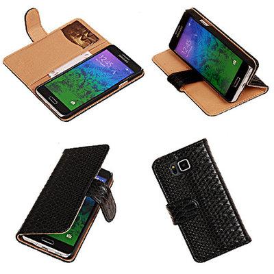 BC Slang  Zwart Hoesje voor Samsung Galaxy Alpha Bookcase Cover