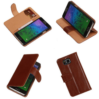PU Leder Bruin Samsung Galaxy Alpha Book/Wallet Case/Cover Hoesje