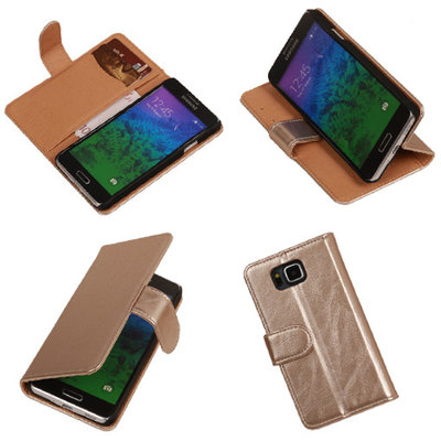 PU Leder Goud Samsung Galaxy Alpha Book/Wallet Case/Cover Hoesje