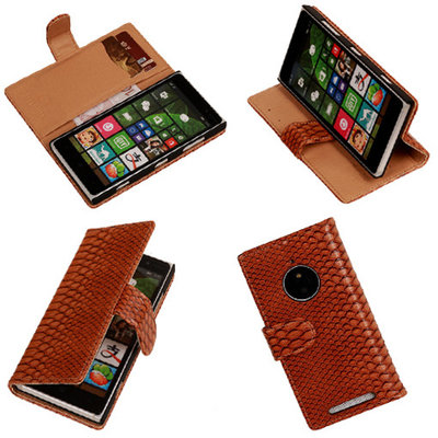 BC Slang Bruin Hoesje voor Nokia Lumia 830 Bookcase Wallet Cover