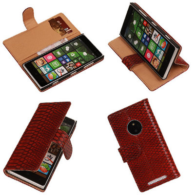BC Slang Rood Hoesje voor Nokia Lumia 830 Bookcase Wallet Cover