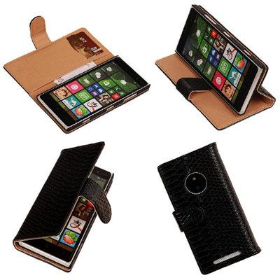 """Slang"" Zwart Nokia Lumia 830 Bookcase Wallet Cover Hoesje"