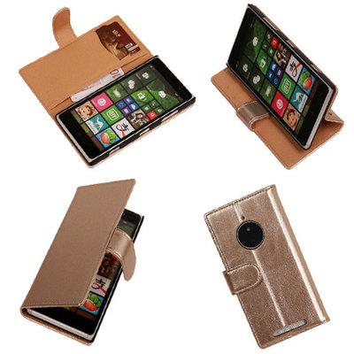 PU Leder Goud Hoesje voor Nokia Lumia 830 Book/Wallet Case/Cover