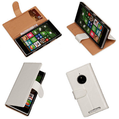 PU Leder Wit Hoesje voor Nokia Lumia 830 Book/Wallet Case/Cover