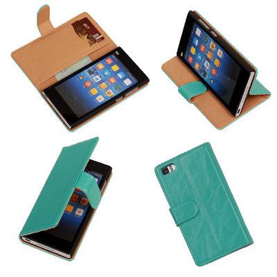 PU Leder Turquoise Hoesje voor XiaoMi Mi3 Book/Wallet Case/Cover