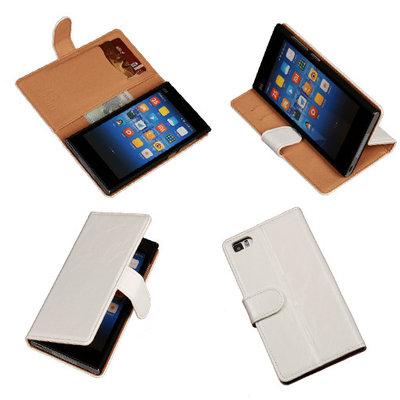 PU Leder Wit Hoesje voor XiaoMi Mi3 Book/Wallet Case/Cover