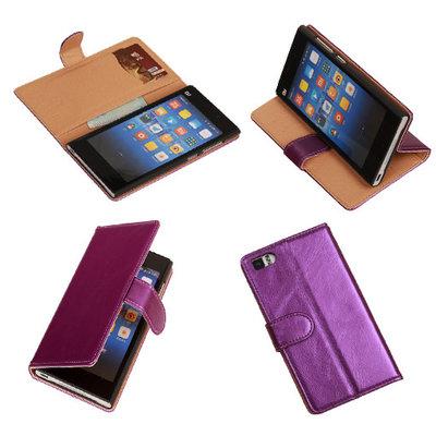 PU Leder Lila Hoesje voor XiaoMi Mi3 Book/Wallet Case/Cover
