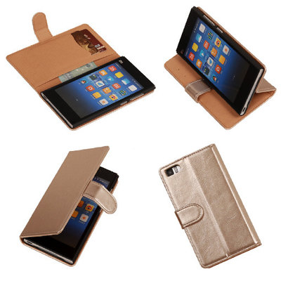 PU Leder Goud Hoesje voor XiaoMi Mi3 Book/Wallet Case/Cover