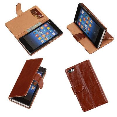 PU Leder Bruin Hoesje voor XiaoMi Mi3 Book/Wallet Case/Cover