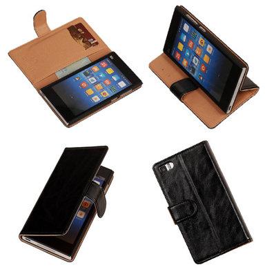 PU Leder Zwart Hoesje voor XiaoMi Mi3 Book/Wallet Case/Cover