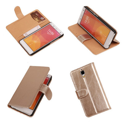 PU Leder Goud Hoesje voor XiaoMi Mi4 Book/Wallet Case/Cover