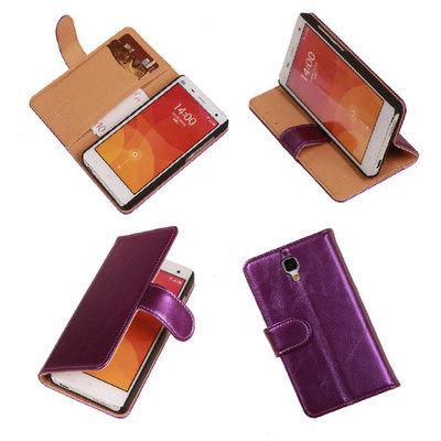 PU Leder Lila Hoesje voor XiaoMi Mi4 Book/Wallet Case/Cover