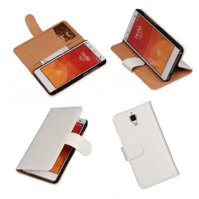 PU Leder Wit Hoesje voor XiaoMi Mi4 Book/Wallet Case/Cover