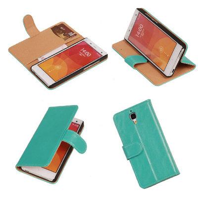 PU Leder Turquoise Hoesje voor XiaoMi Mi4 Book/Wallet Case/Cover