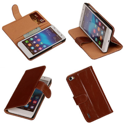 PU Leder Bruin Honor 6 Book/Wallet Case/Cover