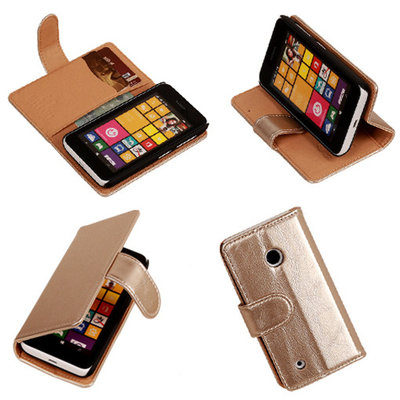PU Leder Goud Nokia Lumia 530 Book/Wallet Case/Cover