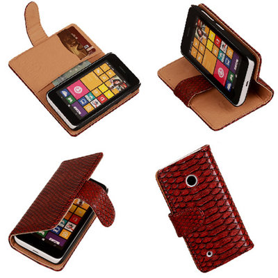 BC Slang Rood Hoesje voor Nokia Lumia 530 Bookcase Wallet Cover