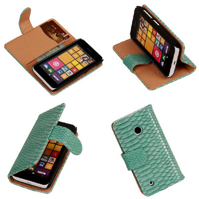 BC Slang Turquoise Hoesje voor Nokia Lumia 530 Bookcase Wallet Cover