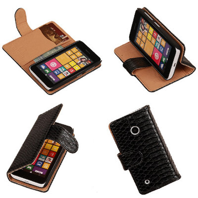 "BC Slang""Zwart Hoesje voor Nokia Lumia 530 Bookcase Wallet Cover"