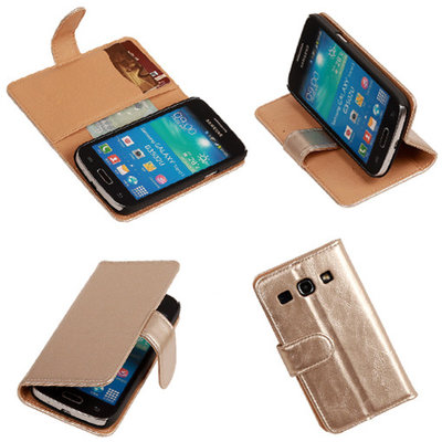 PU Leder Goud Hoesje voor Samsung Galaxy Core Plus Book/Wallet Case/Cover
