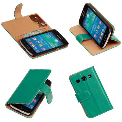 PU Leder Groen Hoesje voor Samsung Galaxy Core Plus Book/Wallet Case/Cover