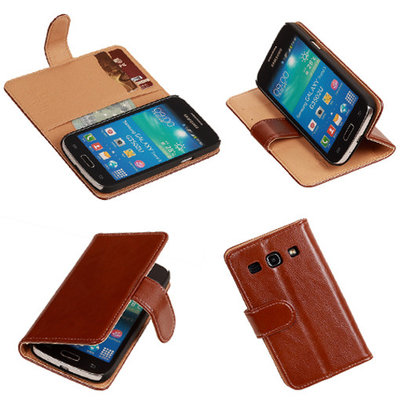 PU Leder Bruin Hoesje voor Samsung Galaxy Core Plus Book/Wallet Case/Cover